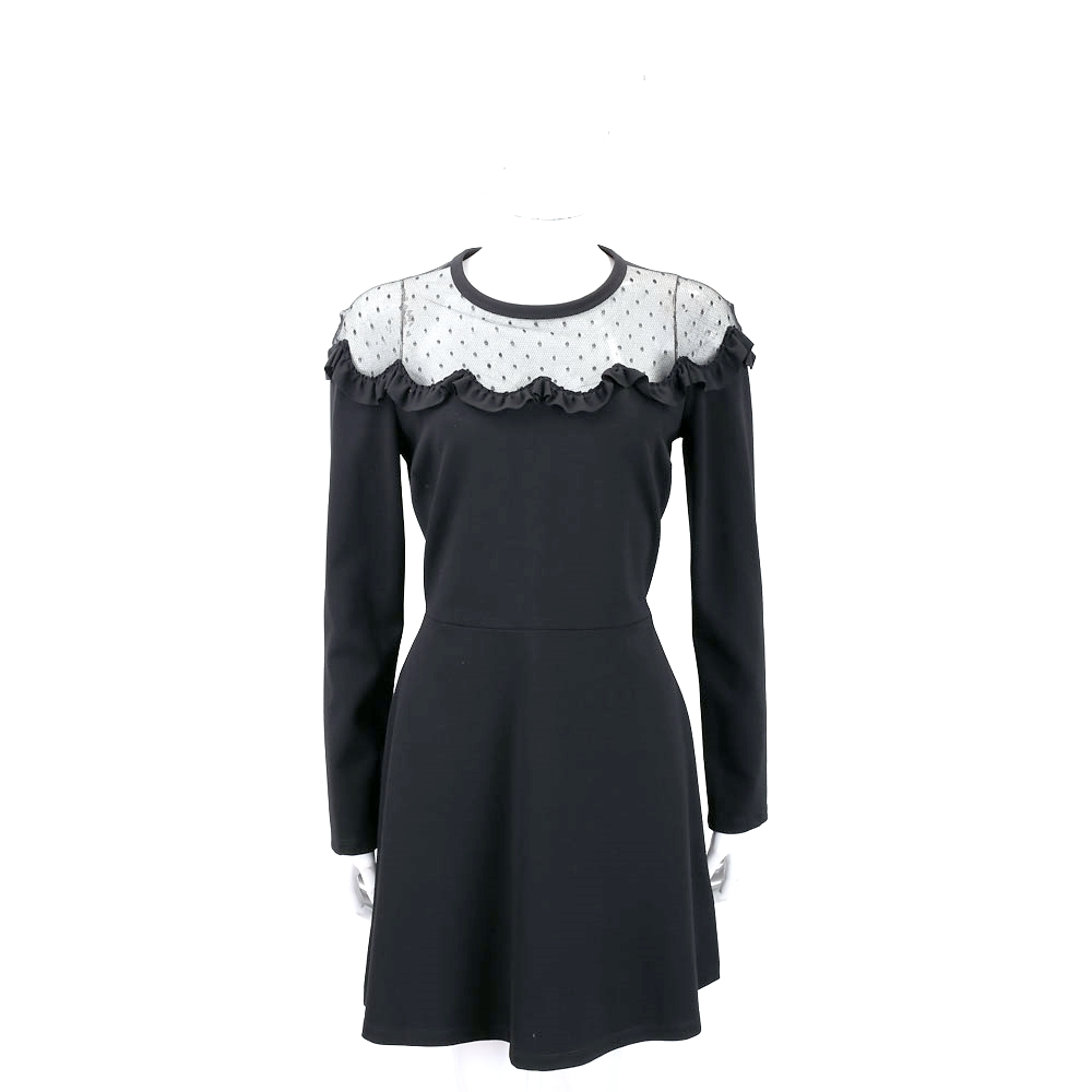 RED VALENTINO 蕾絲荷葉拼接黑色長袖洋裝