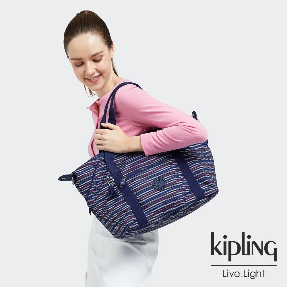 Kipling 圖騰拼接印花手提側背包-ART