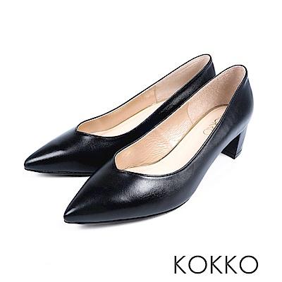 KOKKO - 愛的呢喃粗跟尖頭高跟鞋-質感黑