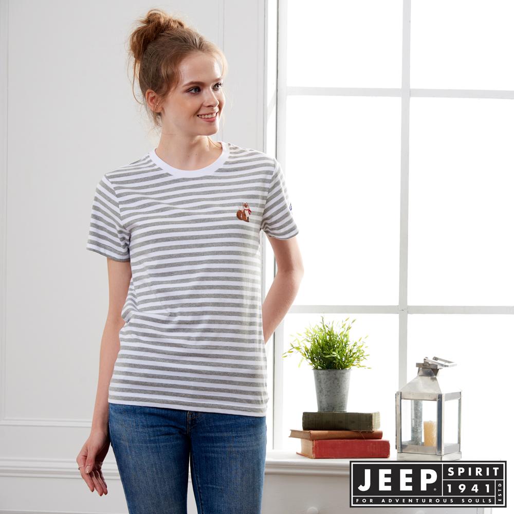 JEEP 女裝舒適狐狸造型條紋短袖TEE-男女適穿-灰色