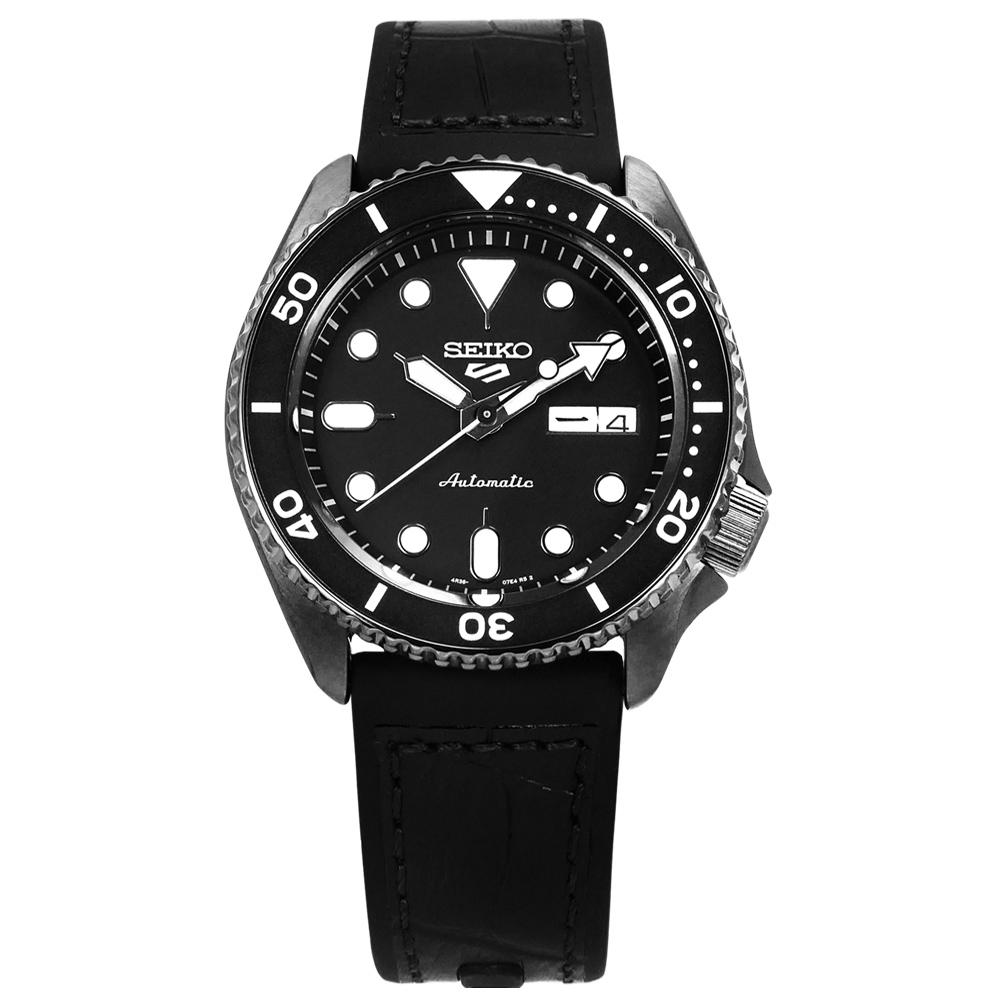 SEIKO 精工 5 Sports 機械錶 自動上鍊 壓紋矽膠手錶 黑色 41mm