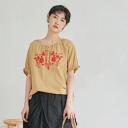 慢 生活 綁繩領刺繡棉麻上衣- 黃