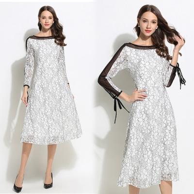 【KEITH-WILL】歐美風氣質倍增蕾絲花紋洋裝