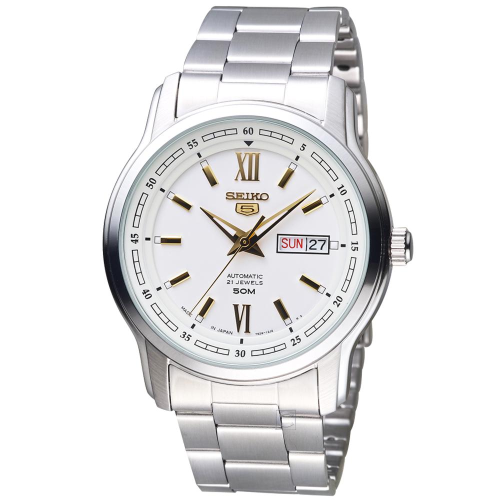 SEIKO精工 5號21石盾牌羅馬機械腕錶 7S26-04T0S SNKP15J1