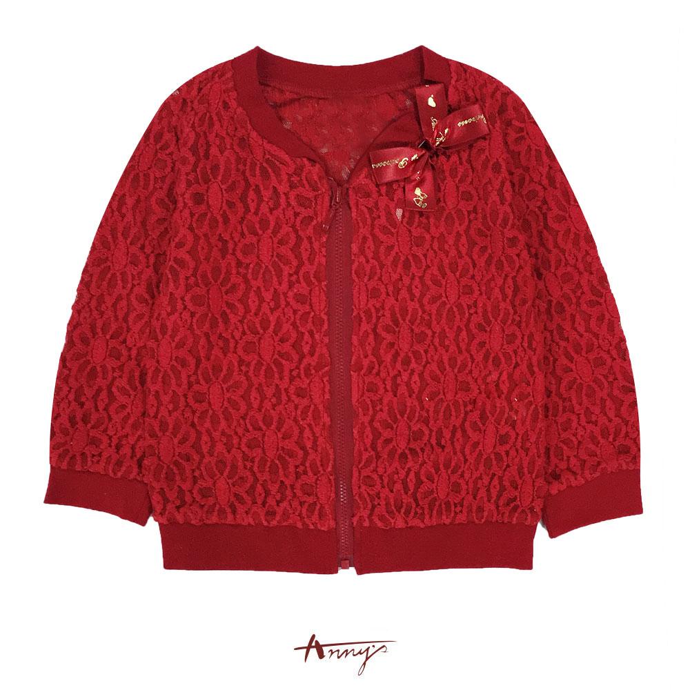 Annys華麗訂製緞帶蝴蝶結簍空花邊蕾絲外套*6292紅