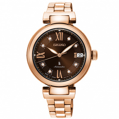 SEIKO 精工 LUKIA晶鑽時尚機械手錶 SRP844J1-咖啡X玫瑰金/33mm
