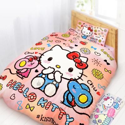 享夢城堡 單人床包雙人涼被三件組-HELLO KITTY CHU CHU-粉