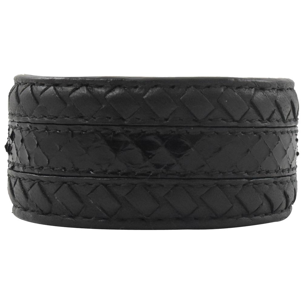 BOTTEGA VENETA 編織+蛇皮紋寬版手環(黑)