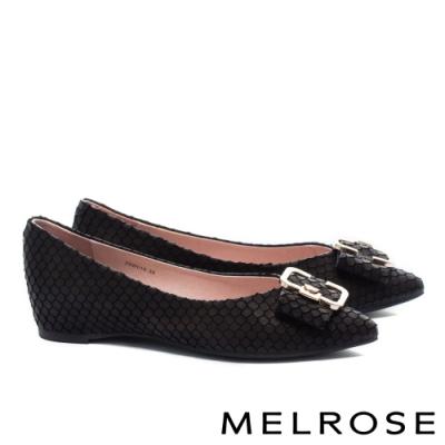平底鞋 MELROSE 復古時尚金屬飾釦尖頭全真皮平底鞋-黑