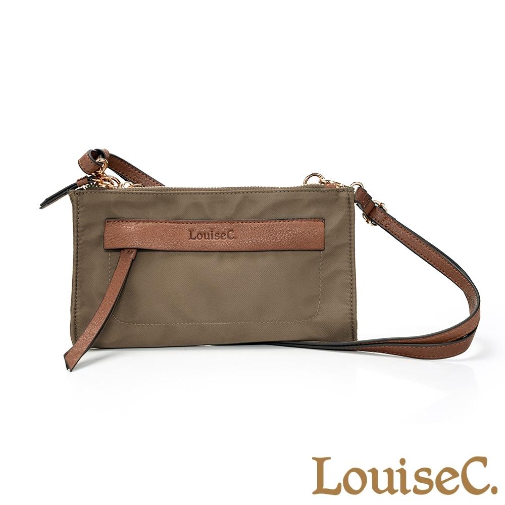 LouiseC. 小巧實用尼龍+牛皮多收納隔層斜背小包-卡其色 05Z36-0072A06