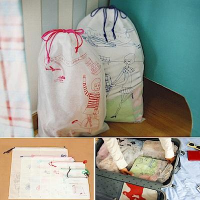 [aiken]2入組 日式手繪旅行束口袋七件套