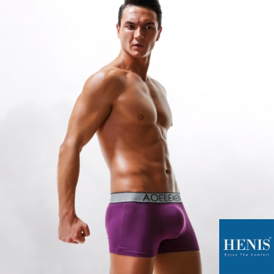 HENIS DIAMOND 時尚鑽格織帶 槍彈分離 機能四角褲 (紫)