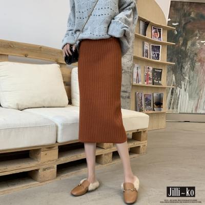 JILLI-KO 修飾鬆緊下襬開衩針織過膝裙- 焦糖/淺卡