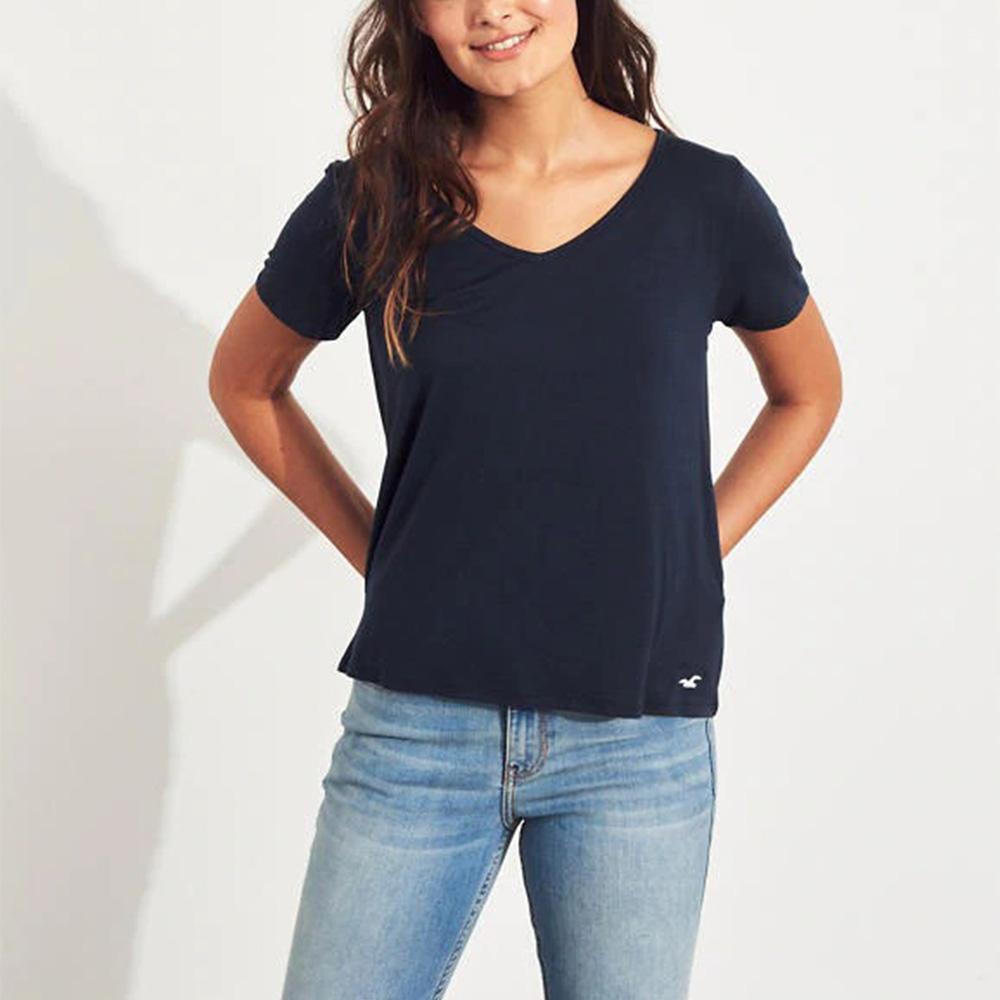 海鷗 Hollister HCO 經典刺繡海鷗V領素面短袖T恤(女)-深藍色