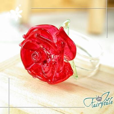 iSFairytale伊飾童話 真情熱戀凡爾賽光透玫瑰玻璃男女戒指 2色戒圍可選