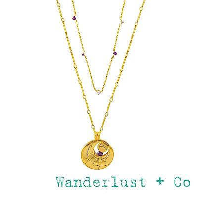 Wanderlust+Co 澳洲品牌 二月誕生石項鍊 鑲鑽金色項鍊
