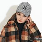 H:CONNECT 韓國品牌 配件 - 復古毛呢繡字棒球帽 -黑