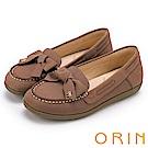 ORIN 經典復古時尚 真皮手縫蝴蝶結平底鞋-可可
