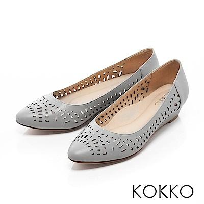 KOKKO -夏日甜心鏤空尖頭楔形跟鞋-度假藍灰