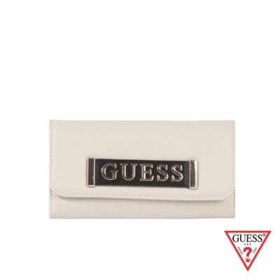 GUESS-女夾-金屬LOGO質感長夾-白