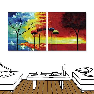 橙品油畫布 二聯 時尚無框畫掛畫-冷暖 50x50cm