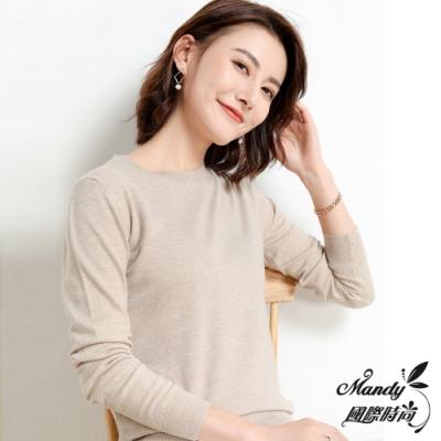 Mandy國際時尚 韓系圓領素色薄款長袖針織毛衣(23色)  【韓國服飾】
