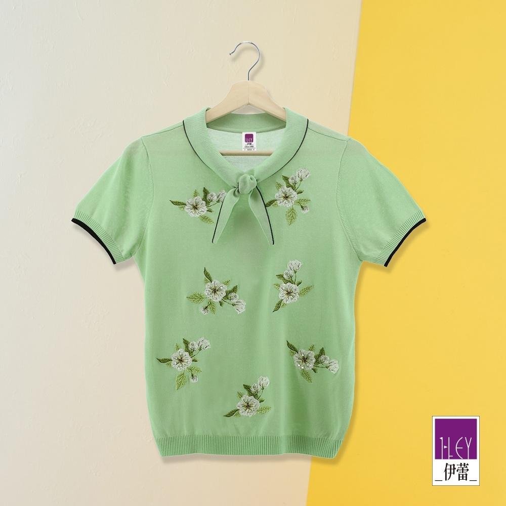 ILEY伊蕾 優雅漸層花朵刺繡針織上衣(綠)