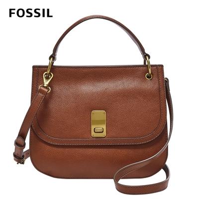 FOSSIL Belmont 復古真皮掀蓋式側揹包-咖啡色 SHB2665213