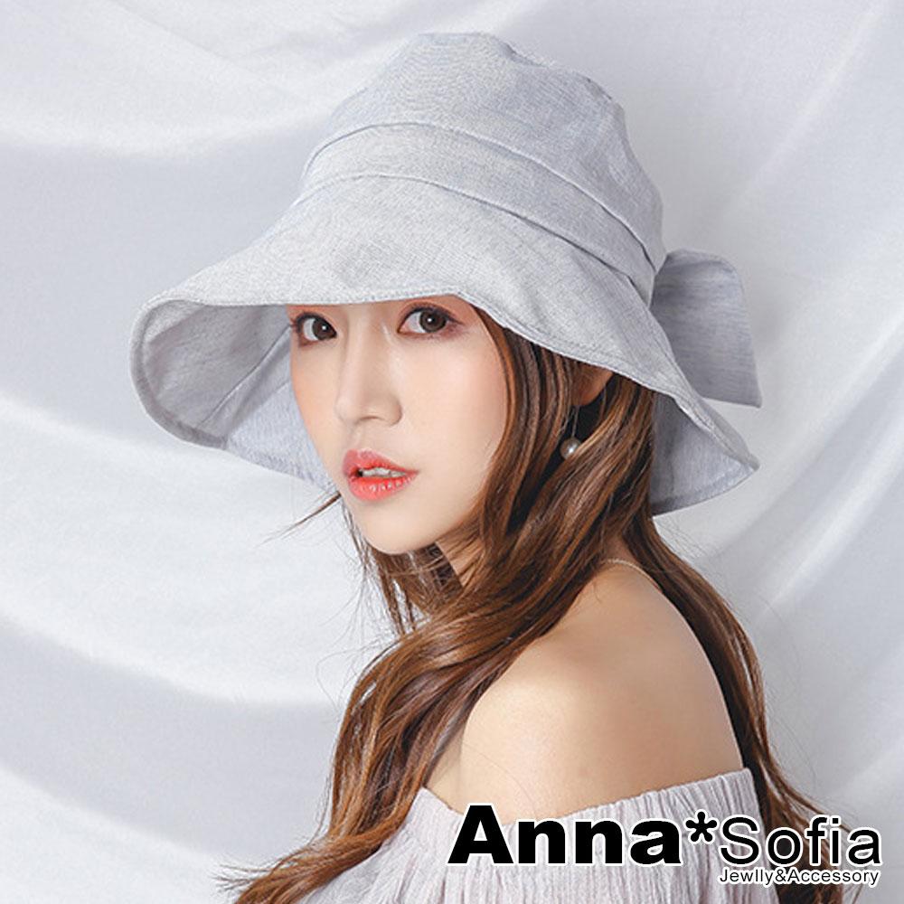 【滿額再75折】AnnaSofia 染點質感後蝶結 遮陽防曬漁夫帽盆帽(淺灰藍系)