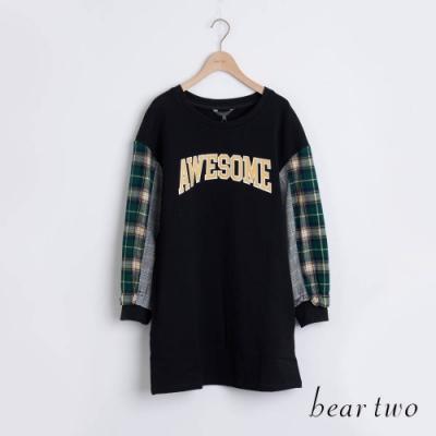 bear two- 格紋接袖長版上衣 - 黑