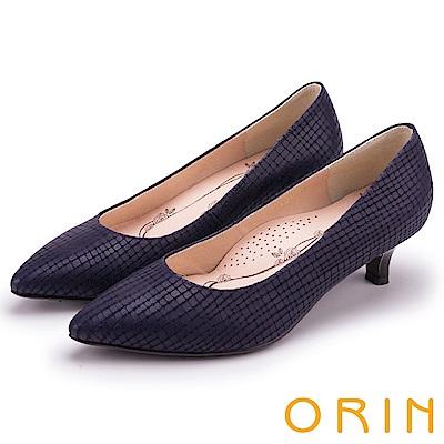 ORIN 典雅輕熟OL 壓紋牛皮素面尖頭中跟鞋-藍色
