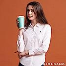 GIORDANO 女裝 Oxford 刺繡彈力牛津紡長袖襯衫01 標誌白
