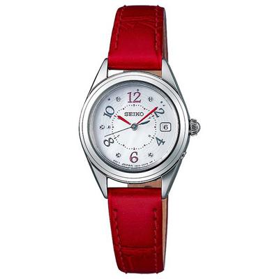 SEIKO精工 晶鑽太陽能電波手錶SWFH079J-珍珠貝X紅/25mm