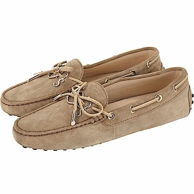 TOD'S Gommino 新版字母麂皮休閒豆豆鞋(女鞋/駝色)