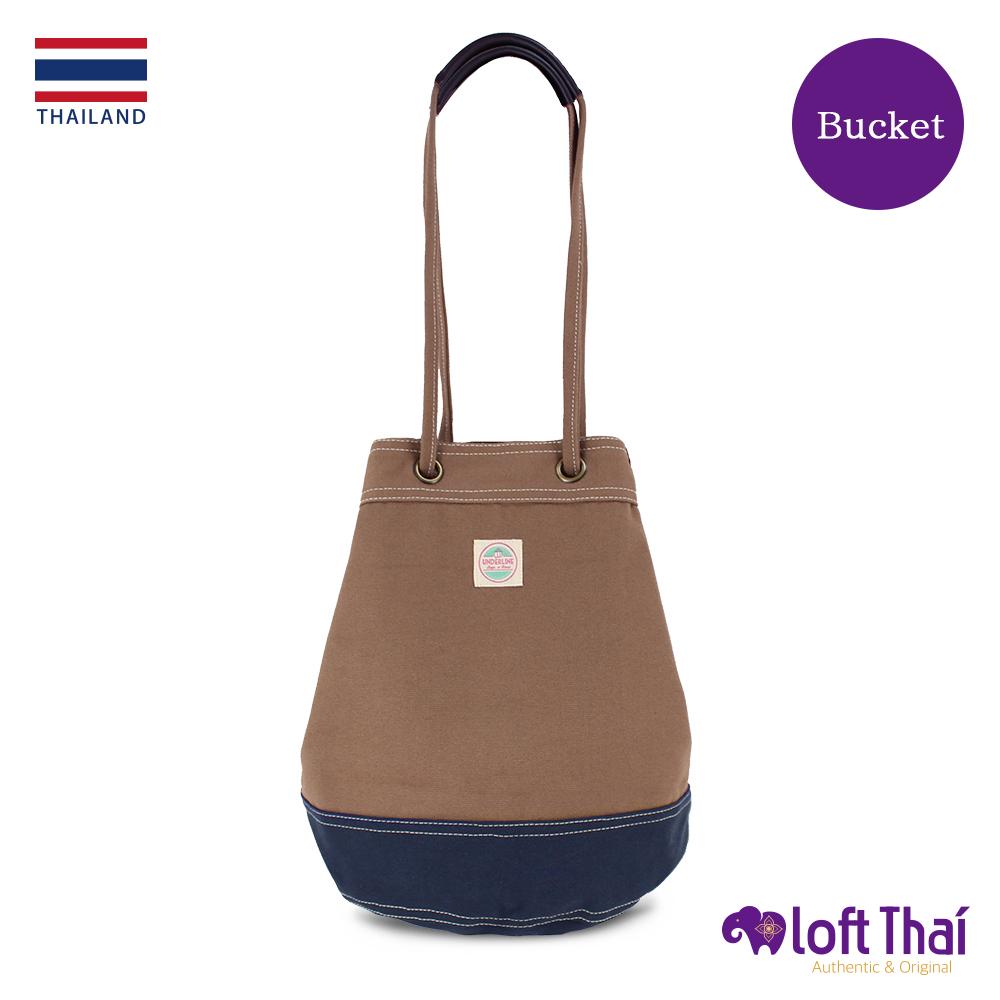 Loft THAI | 泰.兩用帆布水桶包(大) | Brown/navy