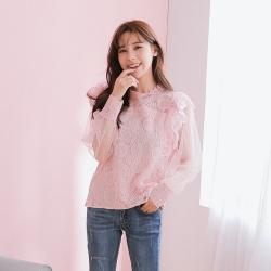 SUPER COLOR 溫柔名伶蕾絲透膚長袖上衣-粉紅色