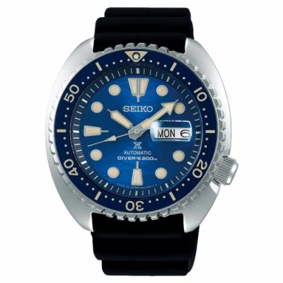 SEIKO精工 Prospex 陶瓷圈海龜王機械潛水錶(SRPE07J1)-藍/45mm