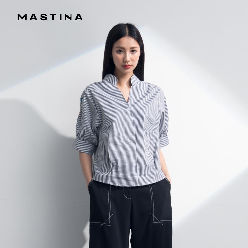 【MASTINA】休閒條紋繡花-襯衫(二色)