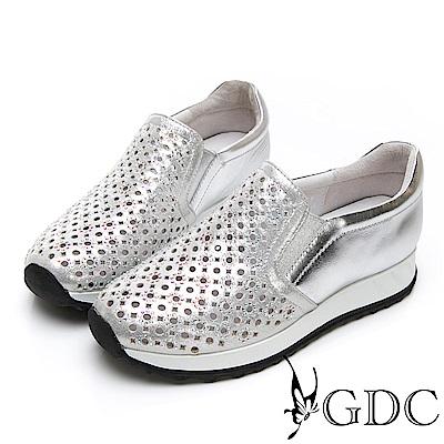 GDC-熱銷款軟底好走沖孔洞洞春夏簡約休閒鞋-銀色