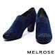 踝靴 MELROSE 內斂奢華感晶鑽羊麂皮高跟踝靴-藍 product thumbnail 1