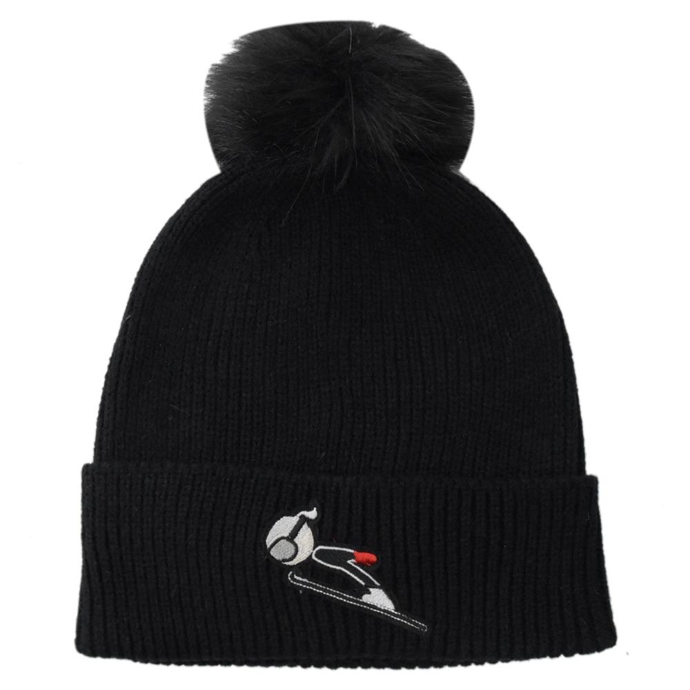 KARL LAGERFELD 電繡卡爾滑雪公仔造型針織毛帽(黑)