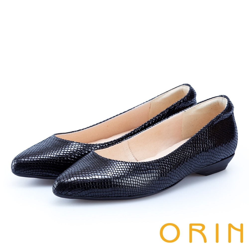 ORIN 都會時尚OL 質感牛皮素面尖頭低跟鞋-壓紋黑