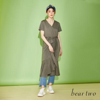 beartwo-飄逸荷葉下擺洋裝-綠