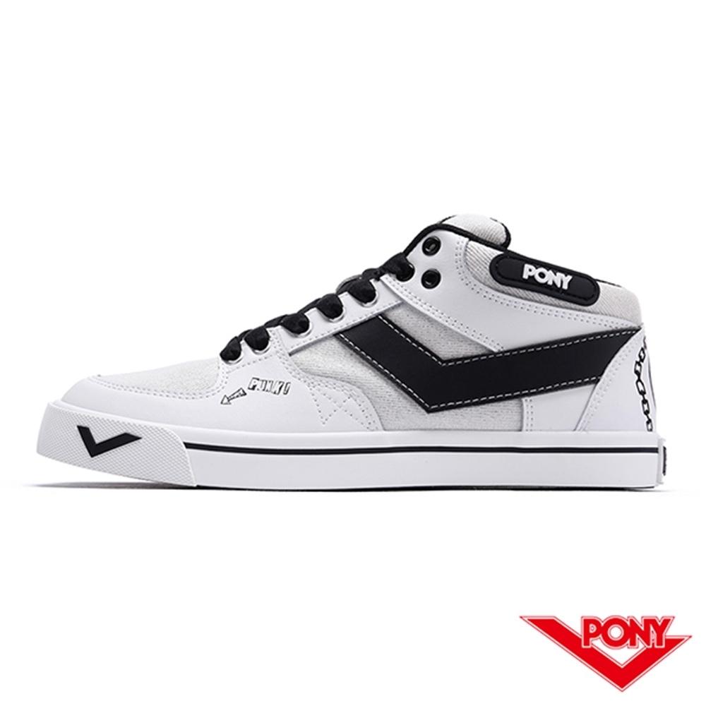 【PONY】ATOP系列滑板鞋-女款-白/黑