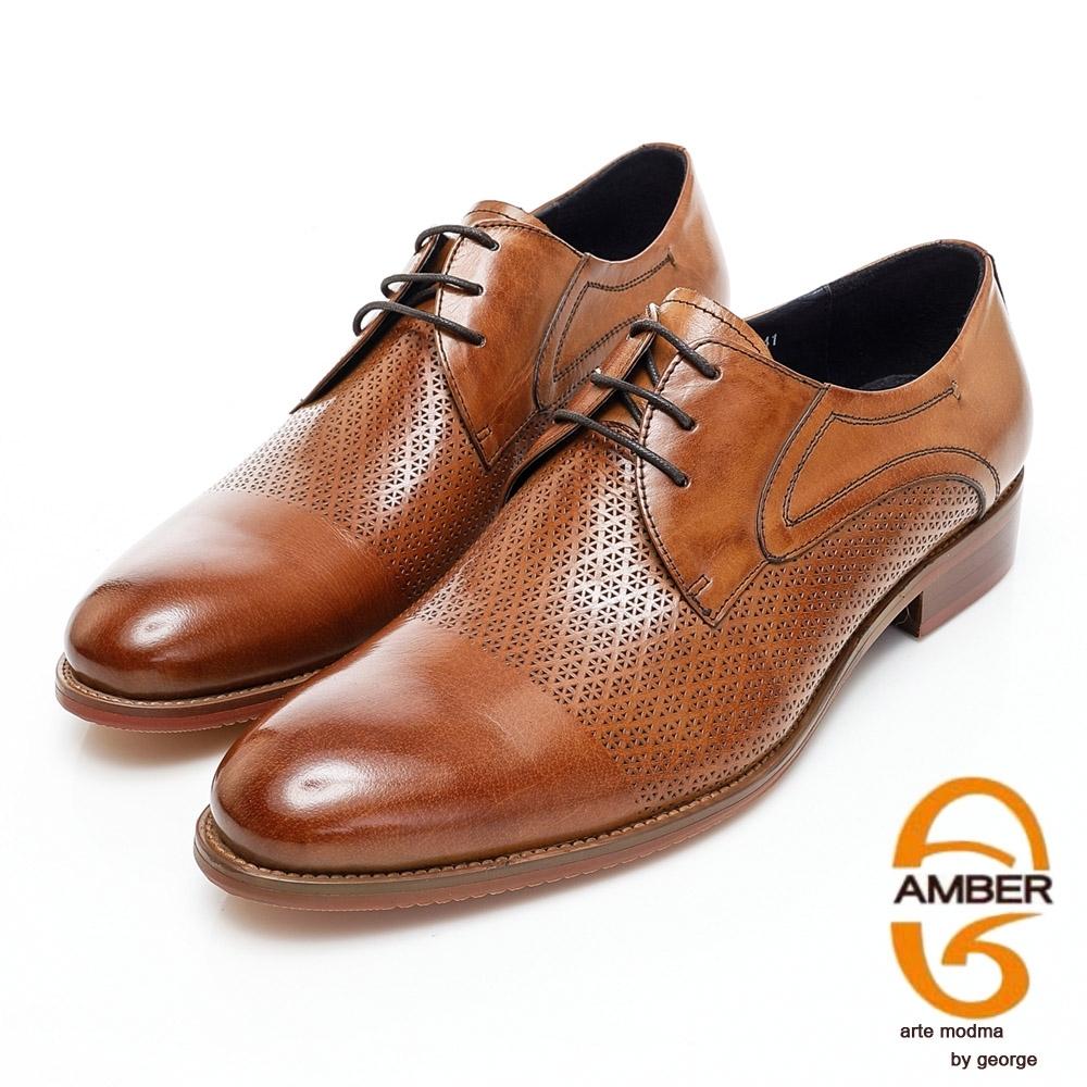 AMBER商務時尚高質感打洞雕花真皮紳士鞋-棕色