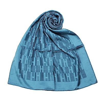 HERMES Faconnee Muffler 經典H Logo 羊絨混絲圍巾-(藍綠色)
