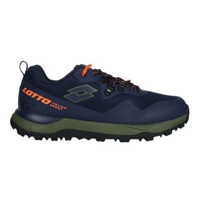 LOTTO 男輕量防水越野跑鞋-登山 山道 運動 慢跑 LT0AMO2556 深藍橘綠