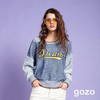 gozo Dream雙面混紗織紋針織上衣(藍色)