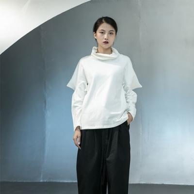 設計所在Style-原創設計師款個性尖尖角袖子寬鬆堆領羊絨衛衣黑白兩色可選
