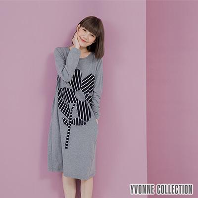YVONNE拼接花朵圖案長袖洋裝- 暗灰